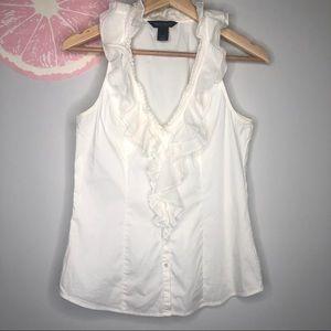 WHBM white ruffle collar sleeveless blouse size 4